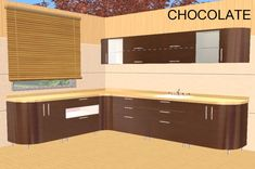 Jazz Kitchen Recolor - Chocolate by 1970s Kitchen, Sims 2, Room Set, Jazz, Chocolate, Inspired, Interior Design, Retro, Games
