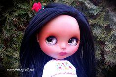 """Dahlia, a Custom OOAK Mexican Blythe Doll by Sandra Coe (Custom #40) Latina Art Doll 12"""" Figure"""