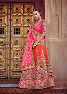 pink & orange heavy embroidery punjabi dulhan lehenga choli