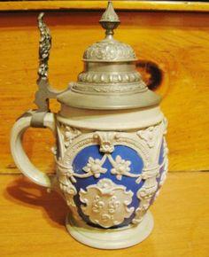 Beer steins Types Of Drinking Glasses, Beer Stein, Beer Mugs, Mug Cup, Craft Beer, Austria, Horns, Switzerland, Cheers