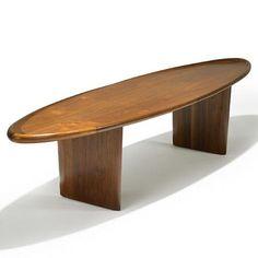 T.H. Robsjohn Gibbings; Sculpted Walnut Coffee Table for Widdicomb, 1950s.