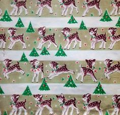 Little REINDEER & Bells NEW/OLD Vintage CHRISTMAS Wrapping Paper Gift Wrap (12/12/2012)