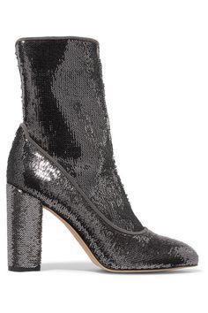Sam Edelman   Calexa sequined stretch-twill sock boots   NET-A-PORTER.COM
