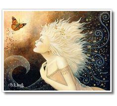 B. K . Lusk Gossamer Fairy Fantasy Icon Figure Portrait Butterfly Spiritual Art Nouveau. $25.00, via Etsy.