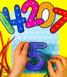 Looking for a fun Preschool Math Unit? This set is all about numbers and counting for numbers Kids can form numbers, play with them and count them in so many different ways. Lacing Numbers game for Preschool. Numbers Preschool, Learning Numbers, Preschool Worksheets, Kindergarten Activities, Preschool Activities, Games For Preschoolers, Number Games Kindergarten, Toddler Learning Activities, Infant Activities