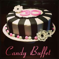 Electric pink, black & white fun chic 30th birthday cake by Candy Buffet