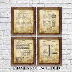 Gifts for Beer Brewers Vintage Beer Brewing Method Patents Set of Four... ($17) ❤ liked on Polyvore featuring home, home decor, wall art, home & living, home décor, silver, wall décor, wall hangings, beige wall art and framed wall art #beerart