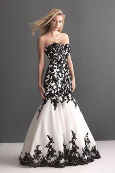 Concise Trumpet Wedding Dresses 2014 Sweetheart Organza With Black Applique USD 181.49 LDPBBF6P1K - LovingDresses.com