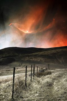 Firey Aurora Borealis in Pentland in Scotland