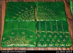 HPC-035: Packer's fan (Green with gold - sold) Hand-painted henna-style coasters, with acrylics  resin, (c) Bala Thiagarajan