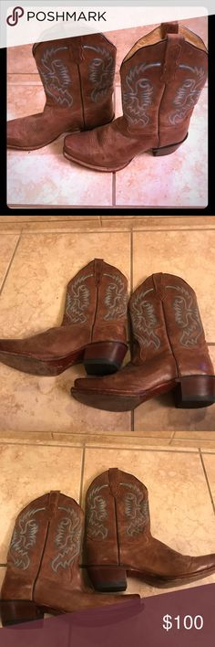 Cowboy Boots! Bought in Texas after my wedding. Worn three times maybe. Small scuff on toe of right boot, but it's not really noticeable. Really comfortable, I just don't wear them enough. They say 9 1/2 on the boot but I wear a 10 and they fit me well. Nocona Shoes
