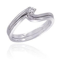 14K White Gold 0.07 ct. Diamond Engagement Set #rings #engagement #jewelry www.BlueRainbowDesign.com