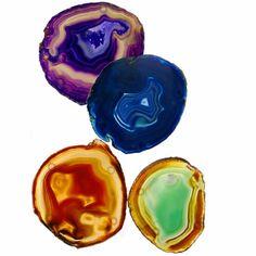 main image of Colored Agate Coaster Set