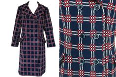 60s Kelstree Tapestry Classic Red Blue Check #clothing #women #jacket @EtsyMktgTool Dresses For Sale, Dress Sale, Black Cat Appreciation Day, Fall Winter, Autumn, Vintage Coat, Blue Check, Red White Blue, Double Breasted
