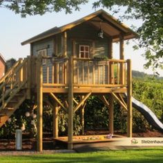 Stilt House - Solid wood and individually - Porch Decorating Ideas Kids Garden Playhouse, Playhouse Outdoor, Tree House Plans, Outdoor Trees, House On Stilts, Play Yard, Backyard Playground, Log Cabin Homes, Backyard Projects
