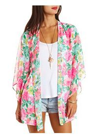 Kimono Tops in Floral, Fringe & Chiffon : Charlotte Russe: Charlotte Russe