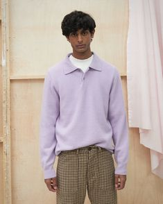 Made from a soft and comfortable felted wool blend that brings up a slightly vibe, the Oliver sweater adds comfort and style to your wardrobe with a classic collar and two small buttons at the top giving you room to breathe. Felted Wool, Wool Felt, Long Sleeve Polo, Wool Blend, Breathe, Lilac, Women Wear, Bring It On, Buttons