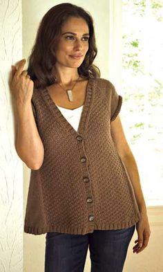 Short-Sleeve Raglan Cardigan pattern in Whitney yarn, by Plymouth Yarn.