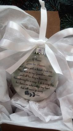 """Grandma Memorial Gift """"If Roses Grow In Heaven"""" In Memory of Grandmother Personalized Christmas Ball - Sympathy Gift Remembrance Bauble Loss by ShopCreativeCanvas on Etsy"""