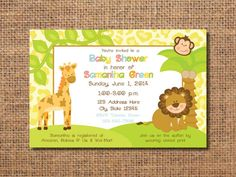 jungle baby shower invitation invitation for by VintageLeeCrafted