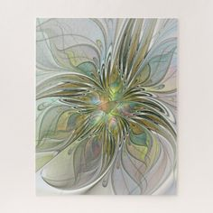 Floral Fantasy Modern Fractal Art Flower With Gold Jigsaw Puzzle - floral gifts flower flowers gift ideas