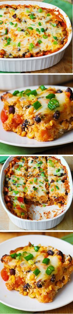 Black Bean and Butternut Squash Enchilada Casserole. A delicious super easy to make dinner recipe. If you love Mexican food or Southwestern recipes, you'll love this gluten free dinner. Veggie Dishes, Veggie Recipes, Mexican Food Recipes, Vegetarian Recipes, Dinner Recipes, Cooking Recipes, Healthy Recipes, Cheese Dishes, Brunch Recipes
