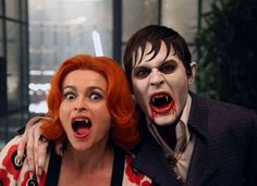 Johnny Depp and Helena Bonham Carter on the set of Dark Shadows