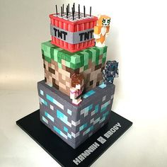 Profile Of 3 Tier Minecraft Cake With Pat Jenn And Stampy Figures All