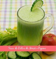 Esse suco combina o poder diurético do pepino e da água de coco. A maçã vem trazendo os flavonóides (anti-oxidante super poderoso!) e as fibras que vão garantir saciedade. A hortelã ajuda na digestão