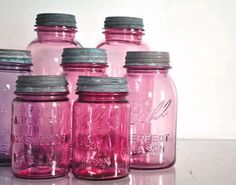 What's better than a mason jar.a PINK mason jar! Pink Mason Jars, Mason Jar Gifts, Bottles And Jars, Glass Jars, Gift Jars, Liquor Bottles, Water Bottles, Pink Love, Pretty In Pink