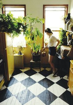 checkered floor and lots of plants