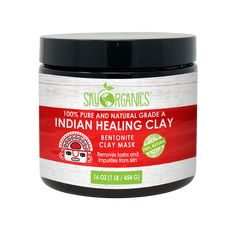 Make a mask of Indian Healing Clay that will attract toxins and impurities caught in your pores, and also reduce acne, inflammations and blemishes. Uses For Bentonite Clay, Bentonite Clay Face Mask, Organic Face Products, Pure Products, Deep Clean Pores, Indian Healing Clay, Clay Faces, Pore Cleansing, Face Skin Care
