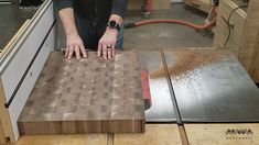 How to Make an End Grain Butcher Block: 13 Steps (with Pictures) Butcher Block Top, Butcher Block Countertops, Butcher Block Cutting Board, Cutting Boards, Rough Cut Lumber, Miter Saw, Table Saw, Router Bits