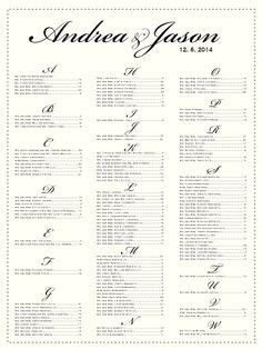 Wedding Seating Chart From CharmingpapershopCom  Custom Wedding