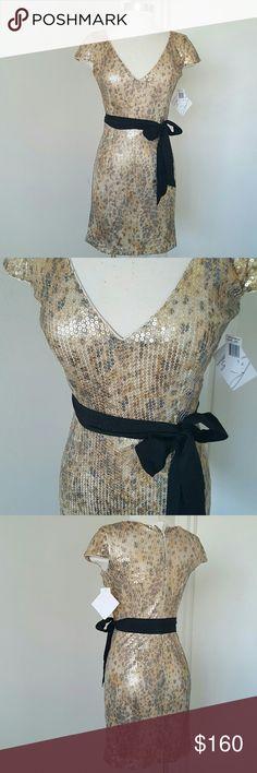 Spotted while shopping on Poshmark: NWT Badgley Mischka  Gold Sequins Dress! #poshmark #fashion #shopping #style #Badgley Mischka #Dresses & Skirts