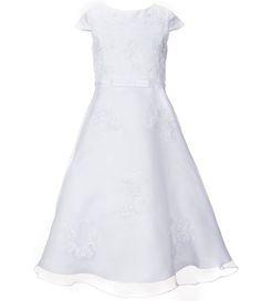 4e748df40fa Us Angels Big Girls 6-14 Cap Sleeve Organza Bow Dress First Communion