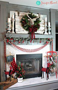 Gorgeous Buffalo Plaid Christmas Decor Ideas (Mostly DIY – Christmas Decorations Christmas Mantels, Noel Christmas, Christmas Wreaths, Christmas Crafts, Christmas Fireplace Decorations, Christmas Music, Christmas Movies, Christmas Ideas, Christmas Christmas