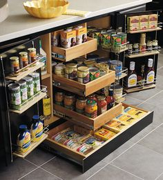 Kitchen Inspo | Kitchen #MultitaskDrawer | Pictured here: Multi-Task drawers • This DIY allows you to keep a lot of things in one place & not take much space at all. In a space for only two cabinets, you can build in this incredible piece of art. Not only does it have drawers, but it also has shelves & rakes.