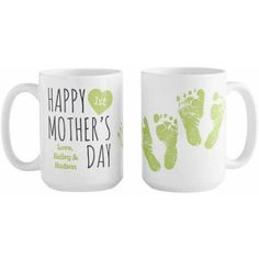 Personalized Happy 1st Mother's Day Mug, Available in 3 Colors, Green