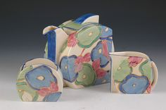Clarice Cliff Stamford Shape Trio - Blue Chintz Pattern - Teapot, Milk & Sugar - Bizarre/Fantasque marked - 1933