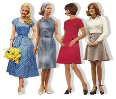 Sixties fashion. You could totally wear all of these in this day and age, except for the hair
