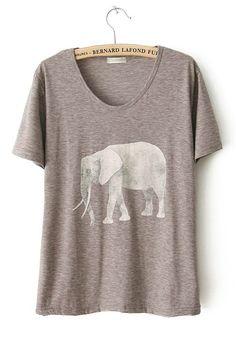 Grey Elephant Print Collarless Short Sleeve Cotton T-Shirt