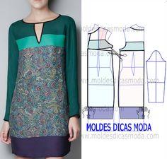 MOLDE VESTIDO DE BARRAS -251 - Moldes Moda por Medida