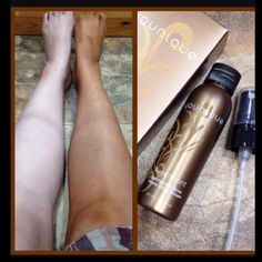 Younique Self-Tanning Spray Applied to Legs