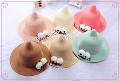 Fashion Summer/Spring Straw Hat With Big Eyes Handmade Children Beach Party Hats