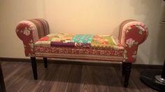 Dizajnérska lavička červená Patchwork - 1
