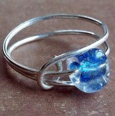 Blue Art Bead Ring Sterling Silver Glass Modern