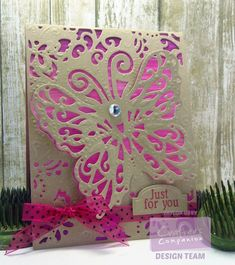 Die'sire Create-A-Card A2 Card Size Die - Lace Butterfly