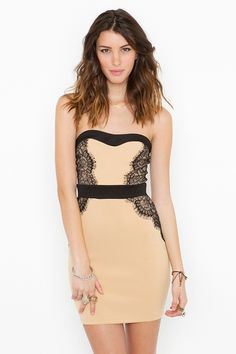 NastyGal Laced Sweetheart Dress. Lace insets create an hourglass silhouette. Edgy and feminine!