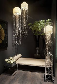 50 Innovative Jellyfish Designs including Jellyfish Tank Ideas and Jellyfish Lamp Design Ideas - Gelee Ideen Decor Room, Bedroom Decor, Nature Bedroom, Bedroom Lamps, Room Art, Bedroom Ideas, Home Crafts, Diy Home Decor, Home Decor Lights